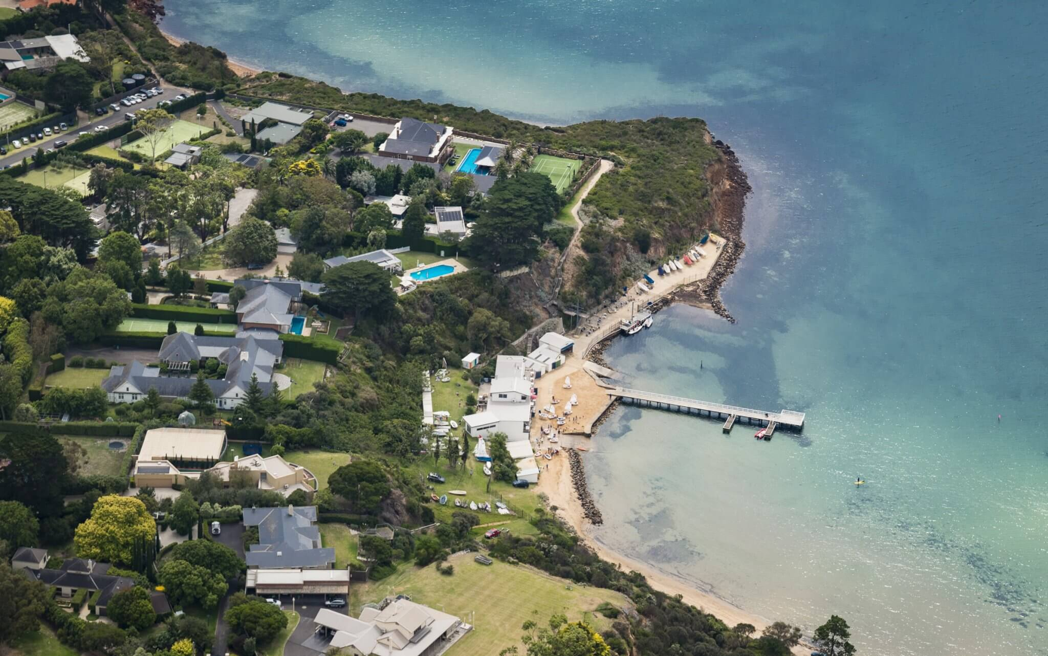 flying over the Mornington peninsula, the Pier in Mount Eliza